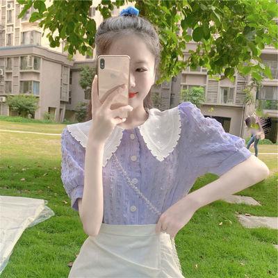 夏装女装香芋紫小个子炸街套装女2021夏季新款可盐可甜短袖上衣