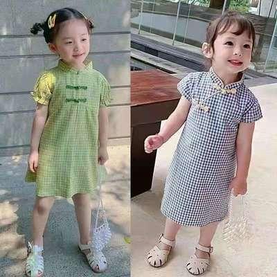 【2件装】童装2021夏季新款女童旗袍中小童复古风小女孩公主裙