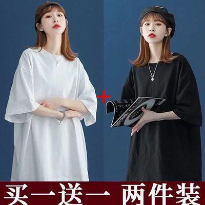 买一送一纯色短袖T恤女2021夏季新款韩版学生原宿风宽松半袖上衣