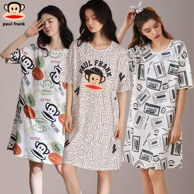 56824/大嘴猴2021新款夏纯棉睡衣女短袖可爱卡通中长款韩版睡裙外穿家居