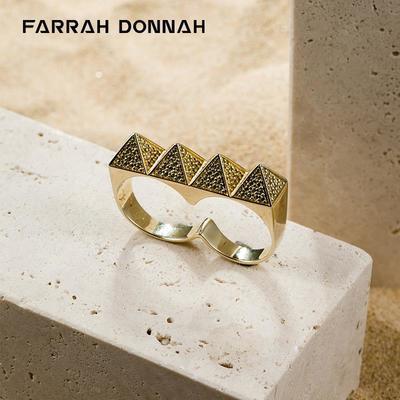 78728/Farrah Donnah法斗珠宝埃及金字塔连体双指戒指环个性姜云升同款