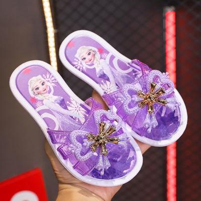 74485/新款洋气蝴蝶结高跟中小童浴室防滑时尚外穿二岁女童可爱公主拖鞋