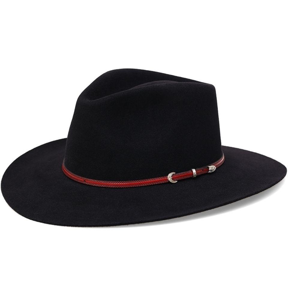 美国西部牛仔帽高档兔绒藏族礼帽女 夏季遮阳大檐藏式毡帽男帽子