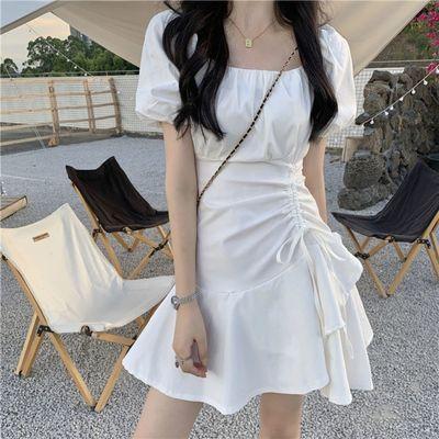 小个子桔梗法式气质显瘦连衣裙女超仙森系复古小众设计感抽绳短裙