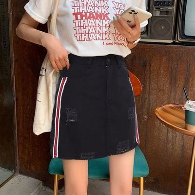 y牛仔半身裙女2021夏季新款修身显瘦遮胯百搭短裙高腰A字裙子