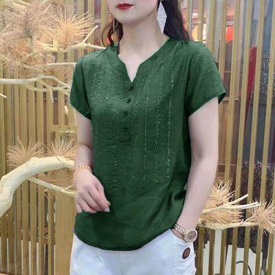 65892/烫钻短袖V领冰丝雪纺衫女夏季新款宽松显瘦衬衫大码遮肚减龄上衣