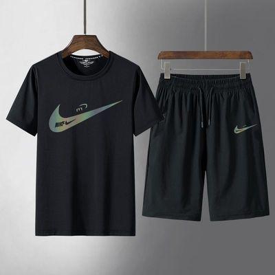 短袖t恤套装男夏季韩版潮流冰丝男士休闲运动套装跑步速干球服男