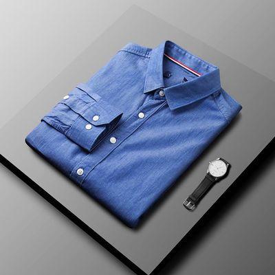 61029/2021新男长袖衬衫衣棉中青年百搭外穿四季休闲纯色牛仔莱赛尔