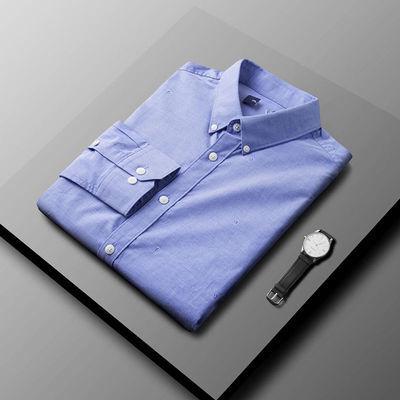 56266/衬衫男长袖衬衣纯棉男士高档蓝色上衣休闲提花男友帅气外穿中青年