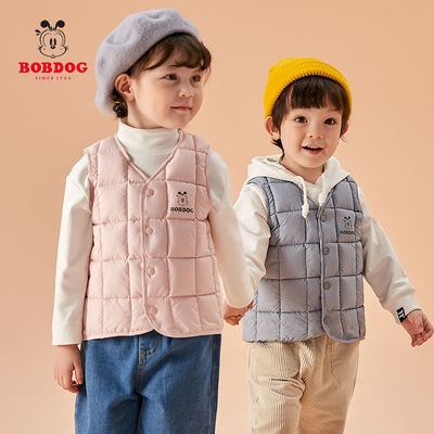 巴布豆轻薄款儿童羽绒棉马甲婴儿宝宝棉背心女童男童外穿秋冬坎肩