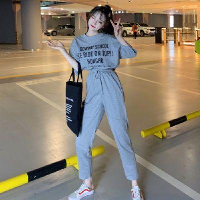 52065/2021新款字母短袖T恤+直筒九分裤休闲运动套装两件套