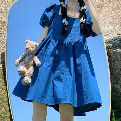 55789/高质量新款连衣裙女2021夏季韩版宽松方领显瘦裙子