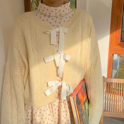 78852/早秋超仙浅黄色温柔蝴蝶结系带开衫前后两穿甜美宽松针织毛衣外套