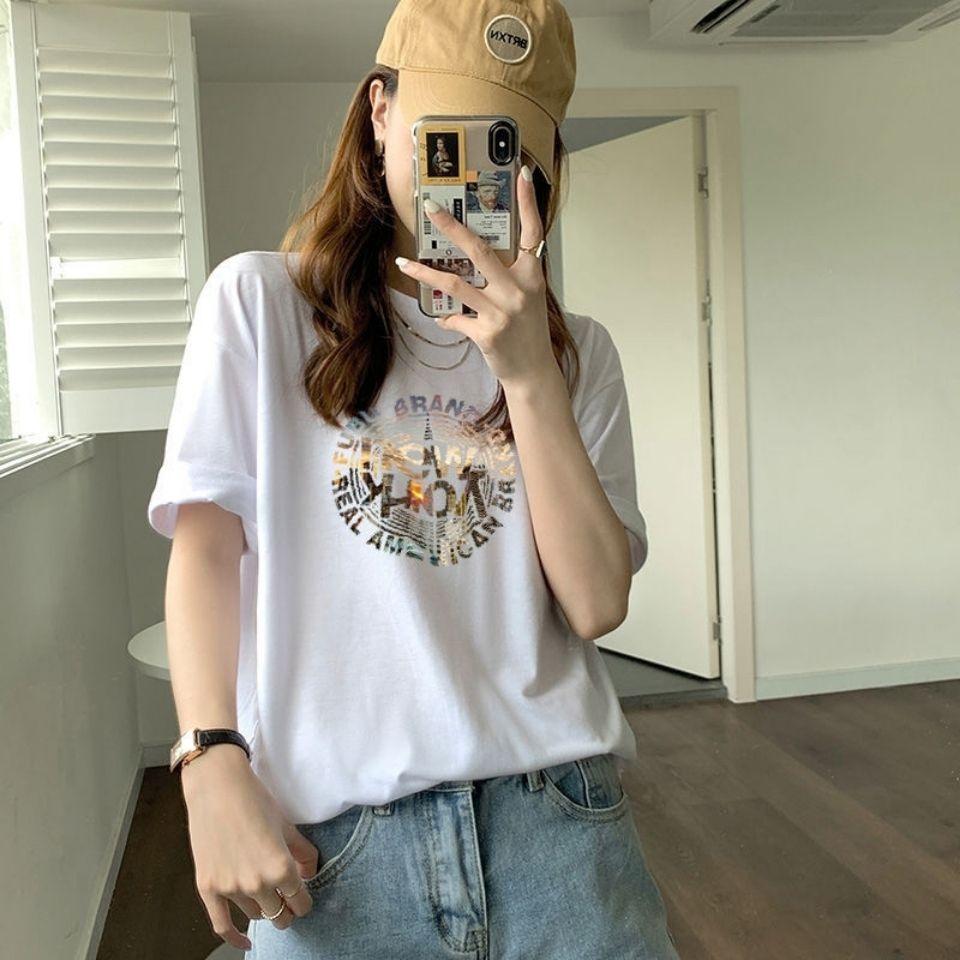 2021新款白色短袖t恤女夏设计感小众印花半袖体恤上衣百搭打底衫