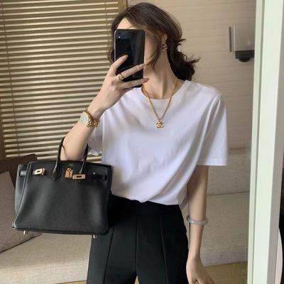 w女装2021新款潮黑白色短袖t恤女春夏季圆领百搭宽松短款上衣