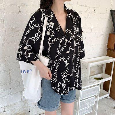 62280/复古印花短袖衬衫女2021年夏装新款宽松设计感小众甜酷风衬衣上衣
