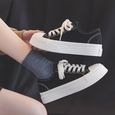 54446/2021新款夏季小白鞋厚底女鞋韩版百搭帆布鞋女学生休闲透气板鞋