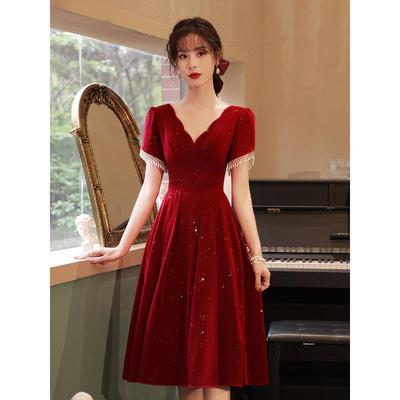 70602/敬酒服新娘2021新款女夏季酒红色结婚订婚回门晚礼服裙平时可穿