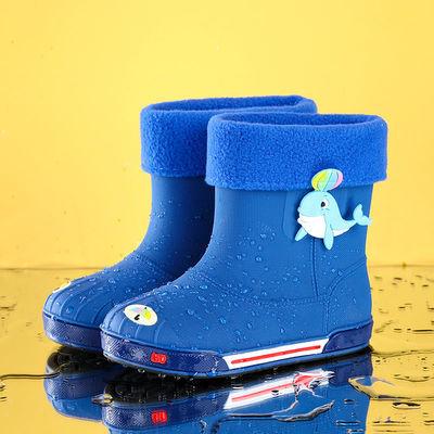 63262/四季男童防滑雨鞋女童防水鞋加绒儿童中筒雨靴小孩学生通用胶套鞋