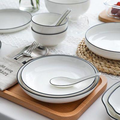 特价餐具碗碟套装家用日式黑线陶瓷餐具组合饭碗盘子大号碗具汤碗