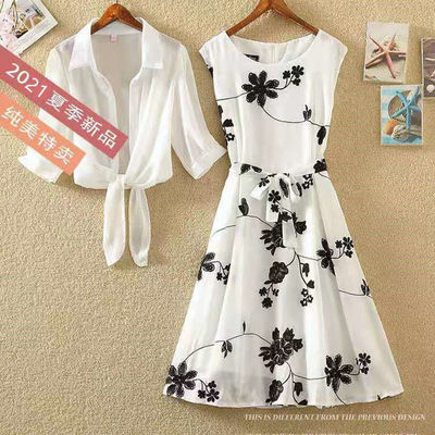 62057/雪纺连衣裙两件套2021夏新复古印花小黑裙高腰无袖显瘦A字裙套装