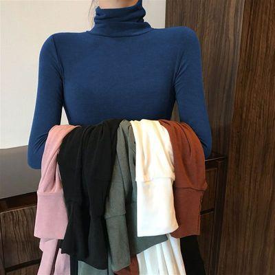 67045/2021春秋新款高领打底衫女士内搭纯色长袖T恤修身百搭显瘦上衣