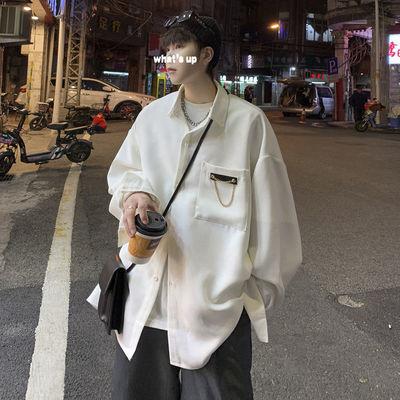 52656/日系衬衫男长袖夏季很仙的上衣痞帅宽松韩版潮流ins港风冰丝衬衣