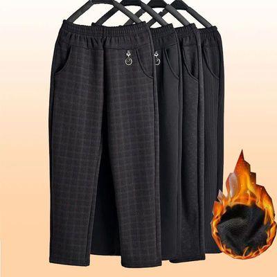 冬季中老年女士加绒加厚妈妈裤高腰弹力宽松奶奶直筒松紧裤长裤暖