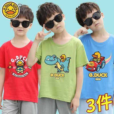 57776/正品小黄鸭男童纯棉短袖t恤2021新款童装儿中大童体恤衫男打底衫