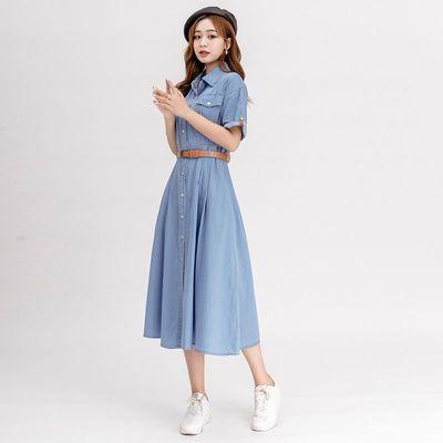 法式纯棉连衣裙新款蓝色收腰口袋连衣裙好看海边度假连衣群小个子