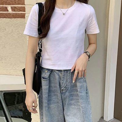 超火网红漏肚脐上衣服百搭圆领短款T恤女夏季学生纯色短袖打底衫