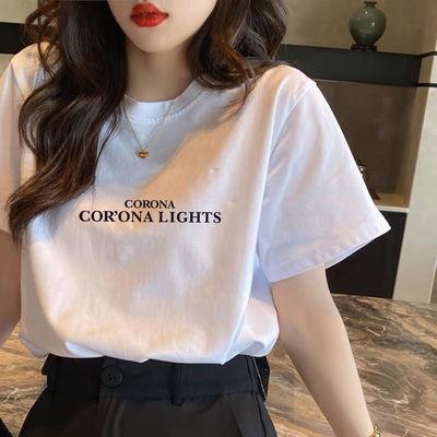 2021新款夏装白色大码女装短袖t恤女韩版宽松加肥夏装胖mm上衣