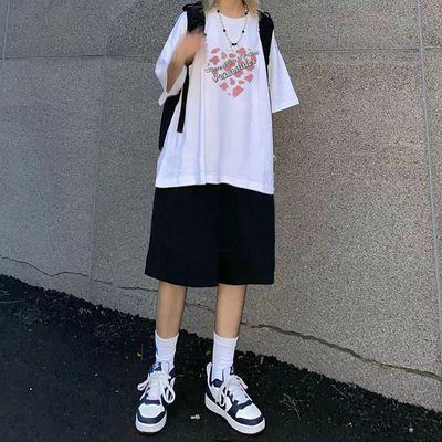 单件/套装夏韩版时尚宽松休闲女短袖T恤+松紧腰短裤两件套ins潮