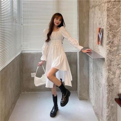 57929/超A甜酷风显瘦不规则连衣裙女春季2021年新款法式复古黑色中长裙