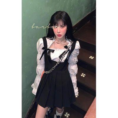 78929/时尚套装女春秋美式辣妹连衣裙背带百褶裙+泡泡袖长袖上衣两件套