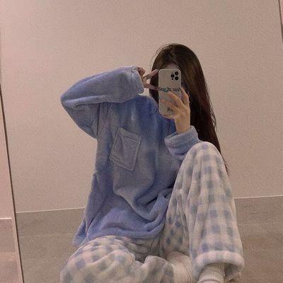 77410/韩版睡衣女冬季法兰绒加绒加厚珊瑚绒网红风宽松可外穿家居服套装