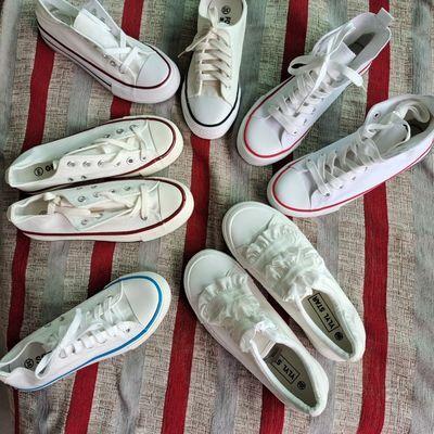 63666/特价微瑕疵白球鞋小白鞋帆布小白鞋晨练女学生帆布鞋跑操百搭白鞋