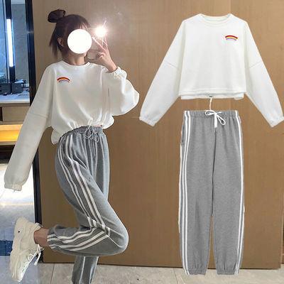 70069/秋季运动服套装女2021新款洋气宽松彩虹长袖卫衣休闲哈伦裤两件套