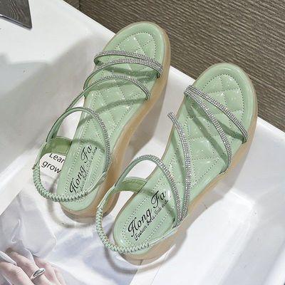 网红凉鞋仙女风2021夏季新款百搭水钻罗马鞋女软底防滑厚底沙滩鞋