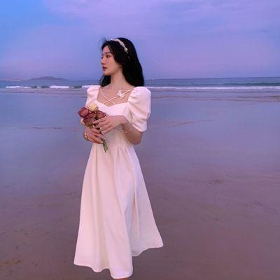 56934/2021新款法式连衣裙复古小众仙女森系收腰显瘦少女温柔甜美长裙子
