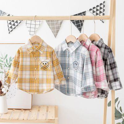 儿童衬衫衬衣男童长袖卡通洋气格子洋气潮纯棉帅气宝宝棉上衣外套