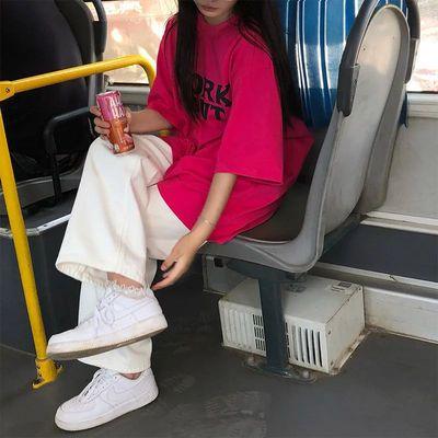 55906/单/套装女新款学生韩版宽松短袖英文印花T恤百搭休闲阔腿裤两件套