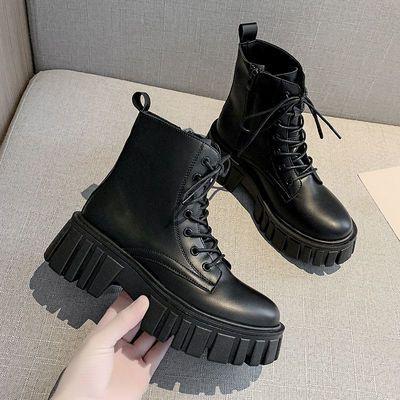 厚底马丁靴女英伦风2021新款白色夏季薄款透气增高短靴子春秋单靴