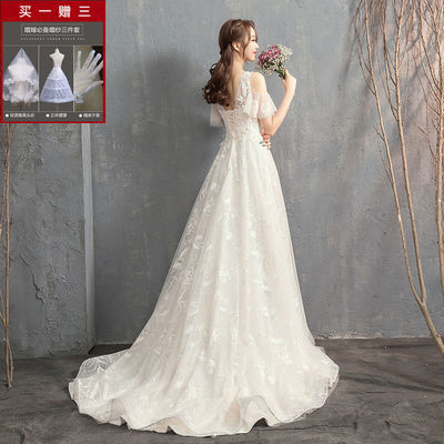 66478/2021新款法式轻婚纱新娘女结婚小拖尾显瘦小个子超仙浪漫奢华婚纱