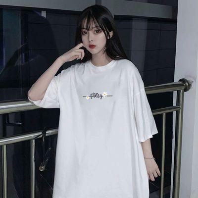2021新款夏季女装短袖t恤学生韩版宽松字母印花半袖上衣ins潮