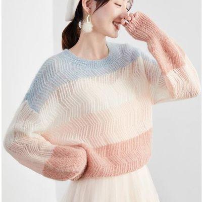 新款彩虹针织衫时尚潮流小清新条纹毛衣秋冬学院风女学生少女上衣