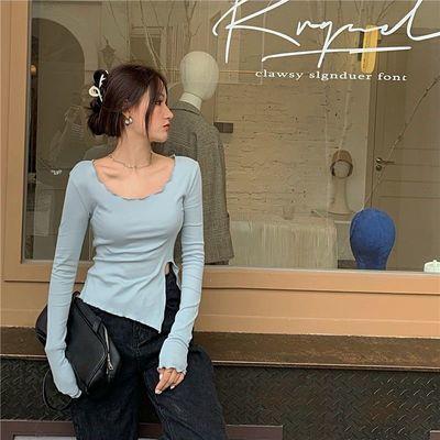2021秋冬新款韩版不规则纯色T恤女修身小众开叉长袖内搭打底衫ins