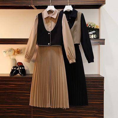66301/大码女秋装2021年新款女胖妹遮肚减龄时尚高级马甲连衣裙两件套装