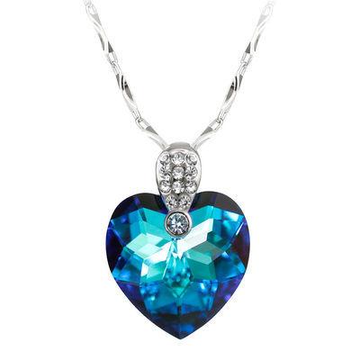 76996/项链女水晶吊坠爱心简约925银饰女友生日礼物海洋之心高质量饰品