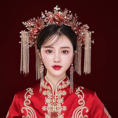 72830/秀禾头饰简单大气2021新款红色中式新娘凤冠古装秀禾服结婚饰品